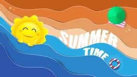 Été, grand soleil et océans bleus avec le fond de plage illustration de vecteur