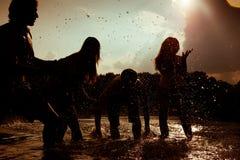Été insousiant - amis en silhouette Photo libre de droits