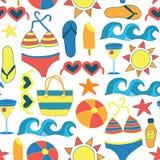 Été prenant un bain de soleil le fond sans couture plat de vecteur d'articles de plage illustration libre de droits