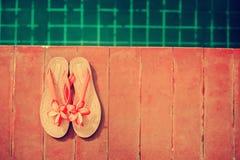 Été rose de piscine de Frangipani de pantoufles Image libre de droits