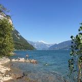 Été Suisse de montagnes de lac Photos libres de droits