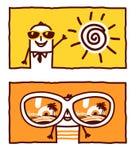 Été, vacances et lunettes de soleil illustration stock