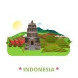 Étable plate de bande dessinée de calibre de conception de pays de l'Indonésie illustration stock