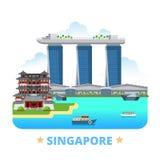 Étable plate de bande dessinée de calibre de conception de pays de Singapour Photos libres de droits