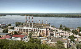 Établir une centrale électrique dans la ville Images libres de droits