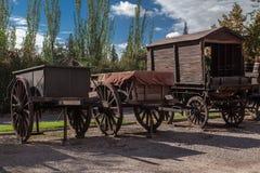 Établissement vinicole en bois Mendoza Argentine de Charriots photos libres de droits
