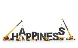Établissez le bonheur : Machines établissant le mot. Photos libres de droits