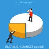 Établissez le vecteur isométrique plat de vente d'affaires de part de marché Photo libre de droits