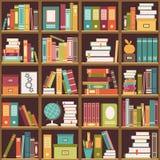 Étagère avec des livres Fond sans couture Photographie stock