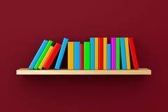 Étagère avec des livres sur Violet Background Photos stock