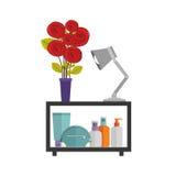 étagère décorative colorée avec le vase et la lampe Photos stock
