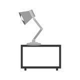 étagère décorative de gamme de gris avec la lampe Photo libre de droits