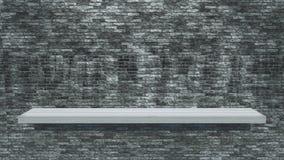 étagère 3D en bois blanche sur un mur de briques grunge Image stock
