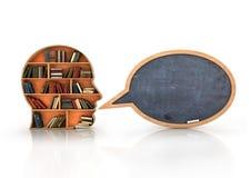 Étagère en bois sous forme de tête humaine et livres avec l'école Images stock