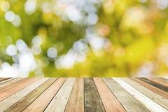 Étagère en bois sur le fond vert brouillé de boekh image stock