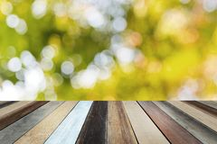 Étagère en bois sur le parc vert brouillé au fond de coucher du soleil image libre de droits