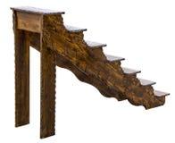 Étagère fabriquée à la main en bois pour des plantes d'intérieur, fond blanc photo stock