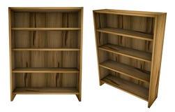 Étagères à livres en bois vides vides Image libre de droits