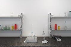Étagères avec des tubes à essai dans le laboratoire