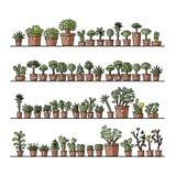Étagères avec le cactus dans des pots, croquis pour le votre Photographie stock libre de droits