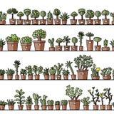 Étagères avec le cactus dans des pots, modèle sans couture Images stock