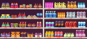 Étagères de bas-côté de supermarché avec des jouets et des produits chimiques illustration de vecteur