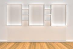 Étagères sur le mur de couleur avec l'étage en bois Images stock