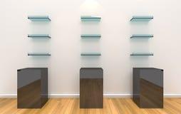 Étagères sur le mur de couleur avec l'étage en bois Photos stock