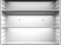 Étagères vides dans le réfrigérateur image stock