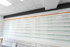 Étagères vides en verre Photographie stock libre de droits