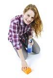 Étage de lavage de jeune femme Photographie stock