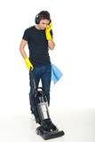 Étage de nettoyage d'homme photos libres de droits