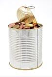 Étain avec des pièces de monnaie Images libres de droits