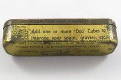 Étain de vintage pour d'OXO cubes en bouillion Image libre de droits