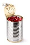 Étain ouvert avec les haricots rouges Photographie stock