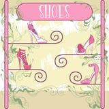 Étalage décoratif de chaussure Images libres de droits