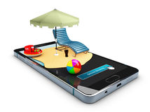Étalage mobile de maquette de la réservation en ligne APP, illustration 3d Photos stock