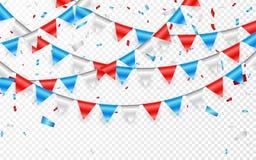 Étamine de fête de drapeau russe sur le fond de partie avec la guirlande de drapeaux Guirlandes des drapeaux bleus et des confett illustration stock