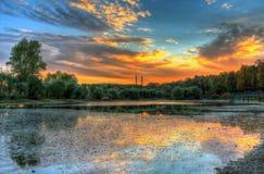 Étang au coucher du soleil Images stock