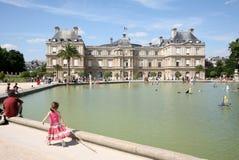 Étang au palais du luxembourgeois Photo stock