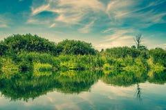 Étang avec de l'eau calmes Images libres de droits