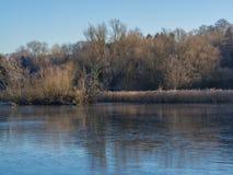Étang congelé en janvier Photos stock
