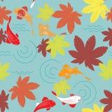 Étang d'Autumn Japanese sans couture Photo stock