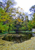 Étang de parc de ville d'automne Photo stock
