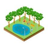 Étang isométrique avec des canards dans l'illustration de vecteur de parc de ville illustration de vecteur