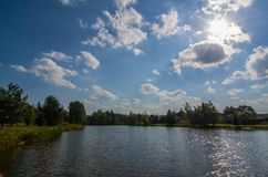 Étang sur la rivière de Darya Photo libre de droits
