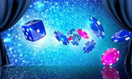 Étape avec des pièces de monnaie et des matrices de casino Image stock