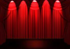 Étape avec le rideau rouge Photo stock
