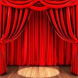 Étape avec le rideau rouge et le plancher en bois Photos stock