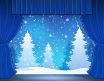 Étape avec le thème 2 d'hiver Photos libres de droits